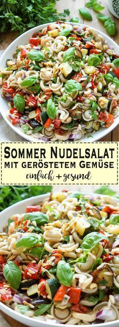 Nudelsalat mit geröstetem Gemüse – #Gemüse #ger…