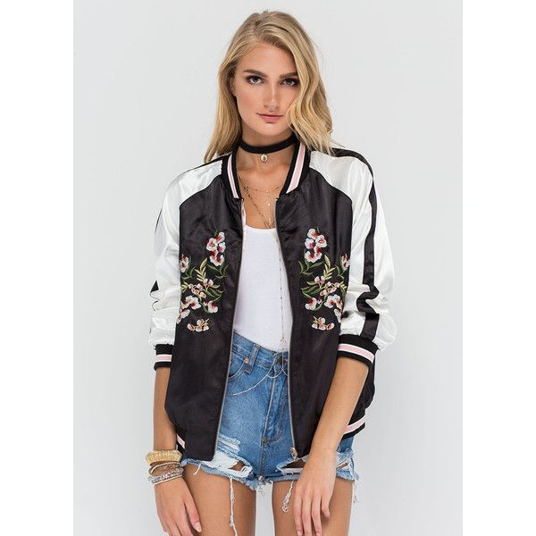 BLACK All Fleur It Reversible Bomber Jacket ($43) ❤ liked on Polyvore featuring outerwear, jackets, black, print jacket, flight jacket, floral print bomber jacket, floral bomber jacket and raglan jacket
