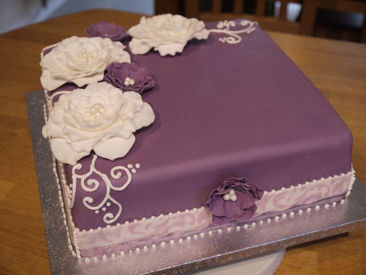 Purple Birthday Cake For A Friend Plain Sponge Filled