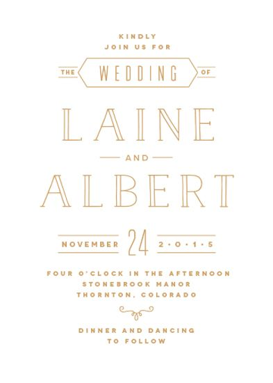 Novecento, Enamel, Naive Inline wedding invitation