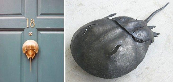 I want that door knocker! // Horseshoe Crab Door Knocker and Garden Sculpture | Remodelista