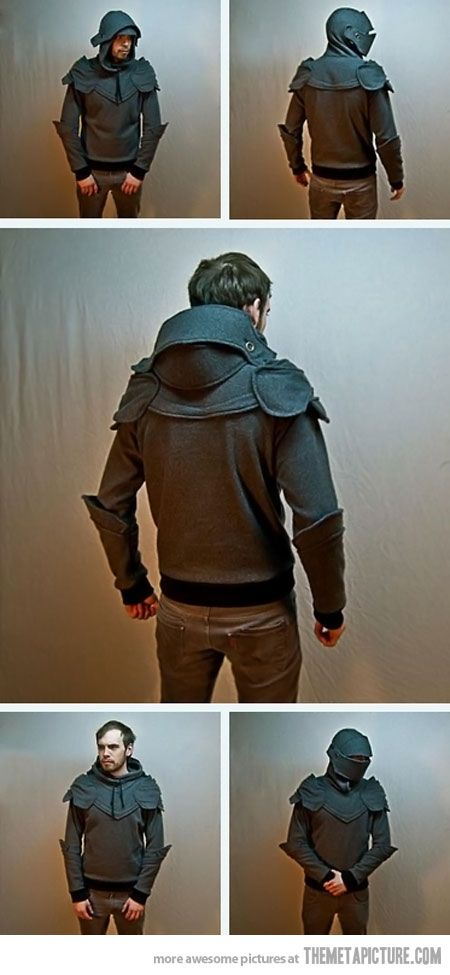 Knight Armored Hoodie -- ok, hear me out.  Davis gets really, really windy.  In the winter, this'd be like face protection from the horizontal rain and biting wind.