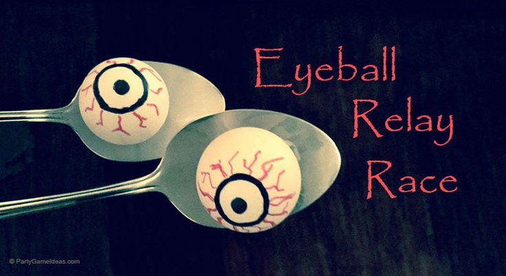 Halloween Eyeball Relay Race - Simple, fun and easy diy Halloween party games that works for kids and adults.