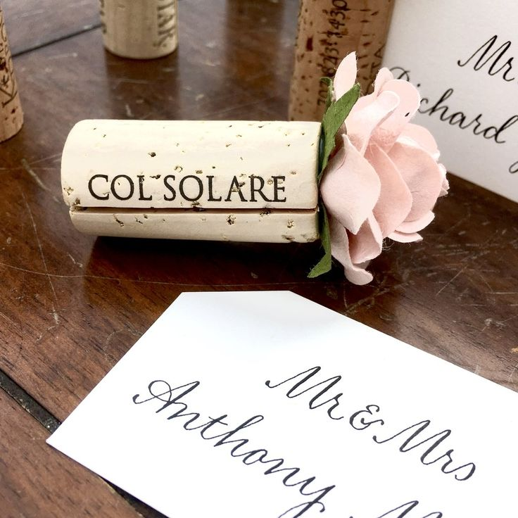 printable wedding place cards vintage%0A Wine Cork Wedding Place Card Holder