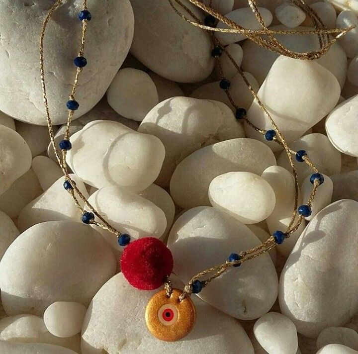 Handmade eye necklaces by L_L.♡ #handmade#eye#good#luck #bracelets#necklaces#charm #handpainted#polymerclay#gold#pompon #semipreciousstones#crystal #beads#design#handmadeingreece#greekdesigners#jewelrydesigners #L_L♡#calliopil_l