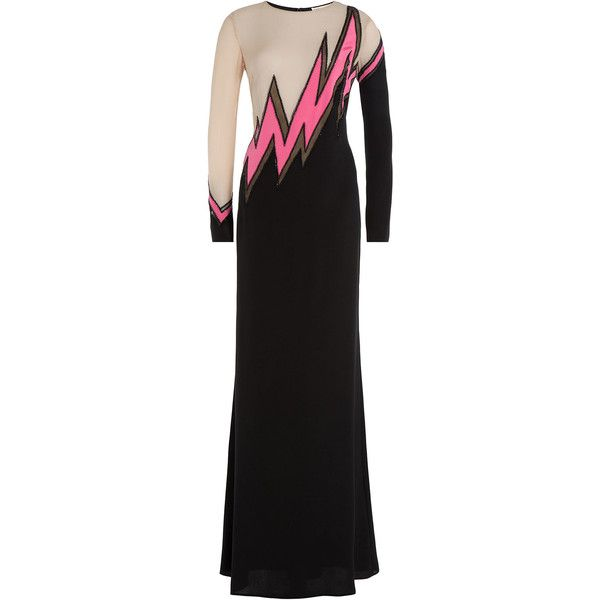 Emilio Pucci Silk Evening Gown ($1,750) ❤ liked on Polyvore featuring dresses, gowns, multicolored, floor length evening dresses, silk evening gowns, floor length evening gown, slimming evening dresses and silk dress