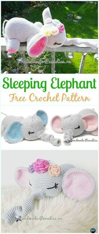 Häkeln Sie schlafenden Elefanten Amigurumi Free Pattern - #Häkeln Sie Amigurum...