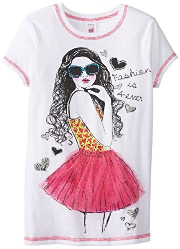 Beautees Big Girls' Girl with Frizzy Hair Screen, White, Large. Short-sleeve tee featuring contrast flatlock seaming and fashion screenprint with three-dimensional tulle on tutu.