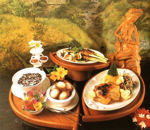 Some traditional Bali food with tropical flower accents would entice my guests with culinary flair!