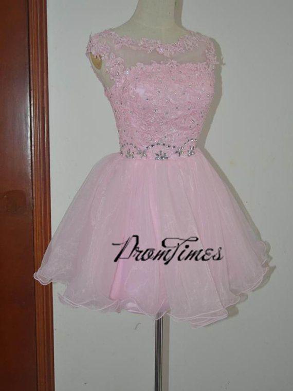 Regreso a casa vestido vestido de encaje rosa cordón por PromTimes