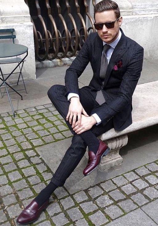 9f3c48ac6c9  aleksmusika - maroon penny loafer shoes black pinstripe suit black socks  light blue shirt gray silk tie maroon silk pocket square sunglasses  suit  ...