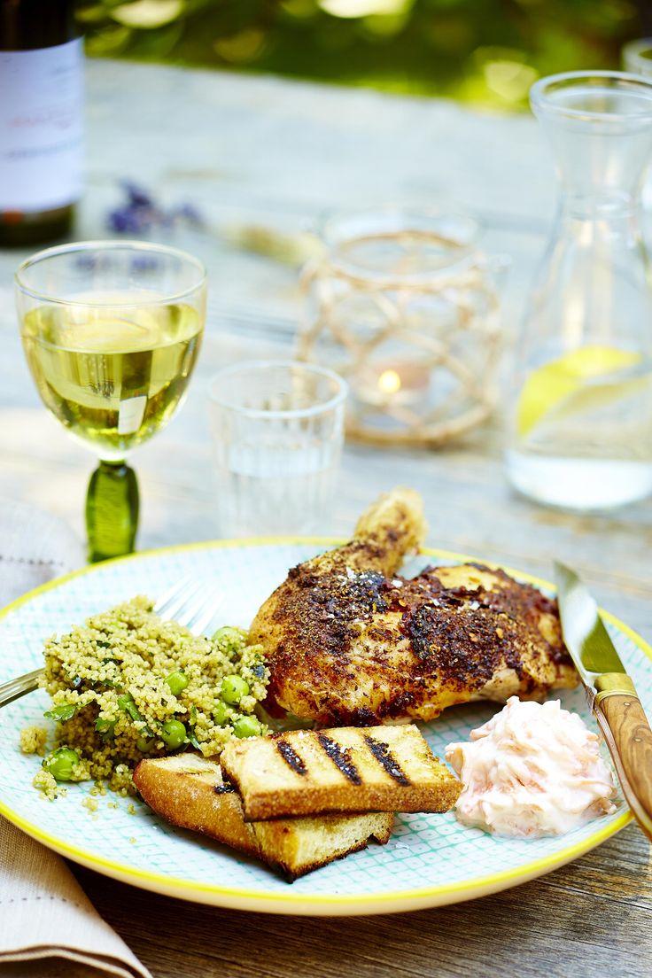 Grillet kylling med couscous og tzatziki