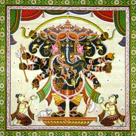 Patachitra painting of Dancing Ganesha Pattachitra is a traditional painting style of Odisha, India.These paintings are based on Hindu mythology specially inspired by Jagannath and Vaishnava cult. Pattachitra style of painting is one of the oldest and most popular art forms of Odisha. The name Pattachitra has evolved from the Sanskrit words patta, meaning canvas, and chitra, meaning picture. The traditions of pattachitra paintings are more than thousand years old. Even today all colours used…