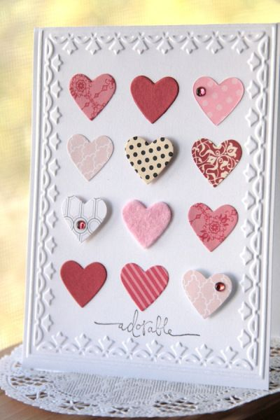 handmade Valentine ... punched hearts ... some popped ... some with a jewel ... great use of scrap paper in red, pink & white ... Stampin' Up!