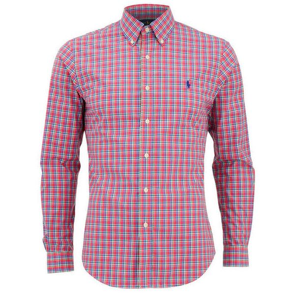 Polo Ralph Lauren Men's Slim Fit Checked Long Sleeve Shirt -... (2 015 UAH) ❤ liked on Polyvore featuring men's fashion, men's clothing, men's shirts, men's casual shirts, pink, mens pink polo shirt, mens long sleeve polo shirts, mens slim shirts, mens pink button down shirt and mens slim fit casual shirts