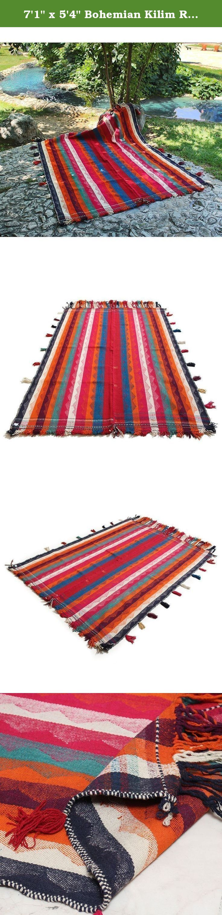 "7'1"" x 5'4"" Bohemian Kilim Rug Made of Pure Lamb Wool , Turkish Kilim Area Rug , High Class Bohemian Kilim Rug, Code: R0101219 . FBA (PS:32x21x2). Traditional designed hand woven rug which comes from pure lamb wool sheared at the Beginning of spring and a mixture of organic colors. It would make your place more attractive with its Wonderful color. Really traditional and Classic design. As an advantages of years of being in this business our price is lower in comparison with other carpet..."