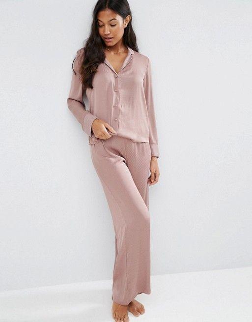 ASOS | Пижамный комплект из атласных жаккардовых рубашки и широких брюк в горошек ASOS Newton