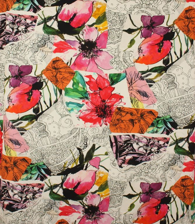 A multi-coloured bold floralfabric.This contemporary fabric is made from 100% cotton. This stylish fabric is ideal for curtains, also useful for blinds and cushions. Buy online or visit one of our fabric shops in Burford, Oxfordshire or Cheltenham, Gloucestershire - in the heart of the Cotswolds.