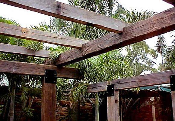 reclaimed timber pergola diy - Google Search