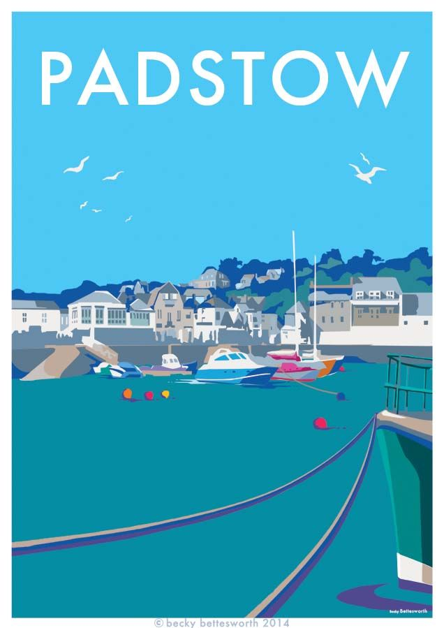 Padstow, Cornwall vintage style seaside travel poster, available at http://beckybettesworth.myshopify.com/