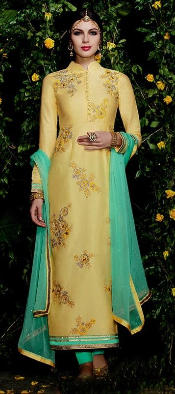 436937 Gold color family Party Wear Salwar Kameez in Cotton, Satin fabric with Lace, Machine Embroidery work .