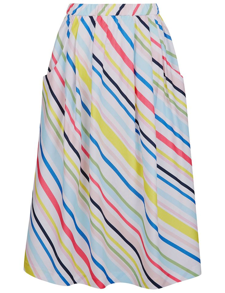 MIRA MIKATI Multi Striped Cotton Midi Skirt. #miramikati #cloth #skirt