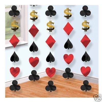 6 x 7ft Las Vegas Casino Poker Party String Decorations - Theme - Hanging
