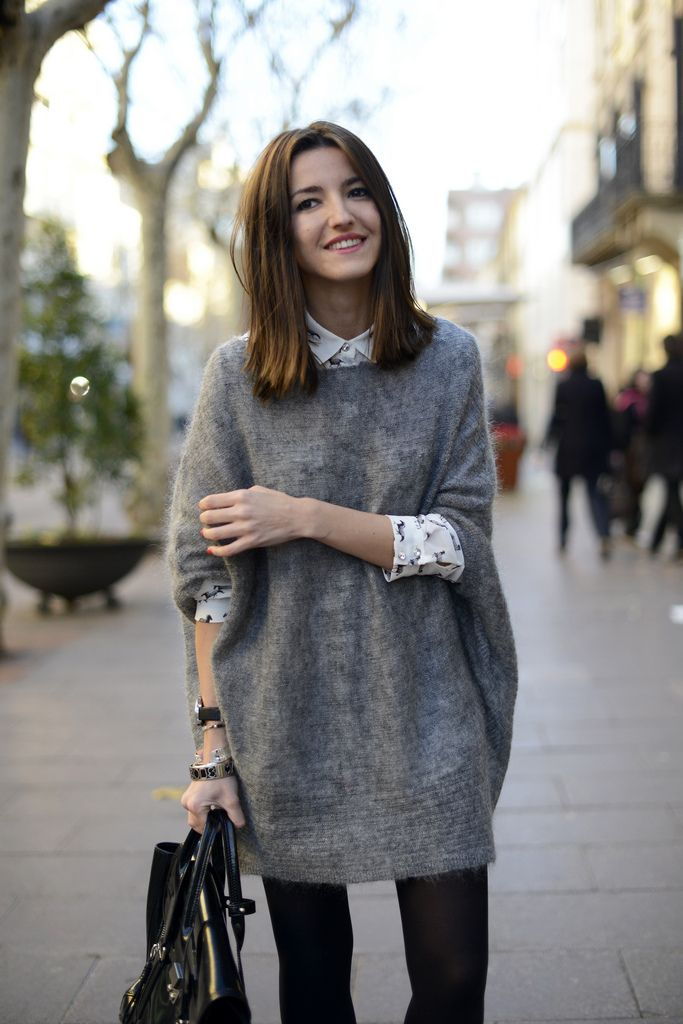turn one of your hub's sweaters into a slouchy dress -- add black tights and voila! a forgiving, stylish new piece :)