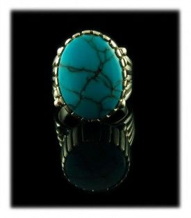 "Men""s Persian Turquoise Ring - Persian Turquoise is very scarce as the mining of Turquoise has been put on hold due to turmoil for the last 50 years.   This men's Gold Turquoise Ring can be seen and purchased as it was put up on Pinterest, you can follow the source link to read more and see additional photos of this beautiful men's ring."