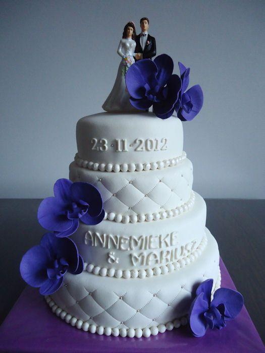 mijntaartcreaties: Bruidstaart wit met paarse orchidee
