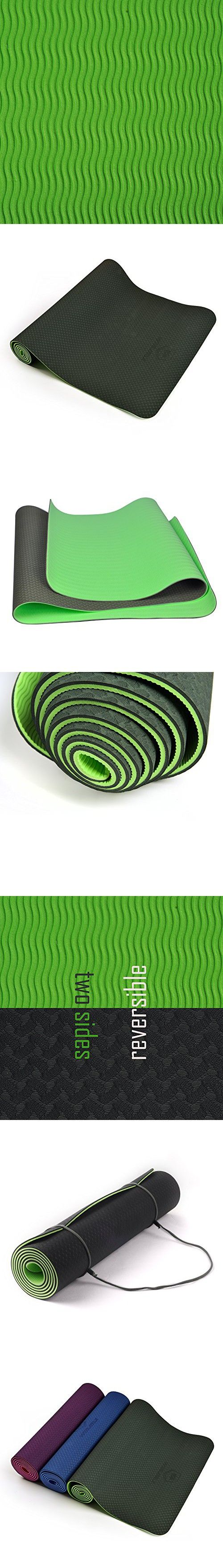 WinMax Anti-slip Eco-Friendly 6mm 1/4 inch TPE Fitness Yoga Mat with Carrying Strap (Green)