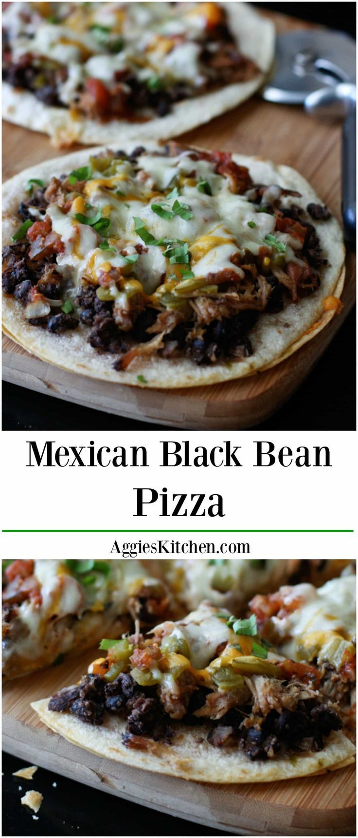 Loaded with pulled pork, beans and cheese this Mexican Black Bean Pizza will satisfy any appetite or craving! Recipe via aggieskitchen.com