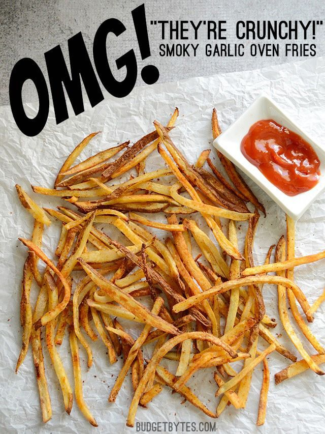 These Smoky Garlic Oven Fries use one simple trick to make them crispy and crunchy. Use this smoky garlic seasoning blend or your own favorite! @budgetbytes