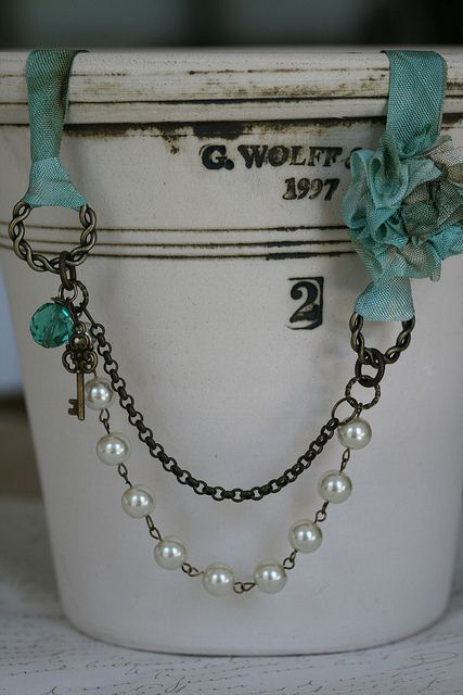 DIY: Easy to make - no instructions. pearl and ribbon necklace by eab designs