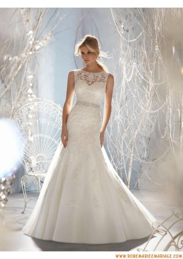 Robe de mariée dentelle perles avec ceinture