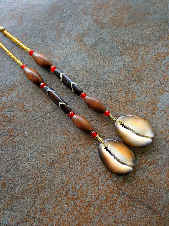 Long Cowrie Shell Tribal Earrings by KheperaAdornments