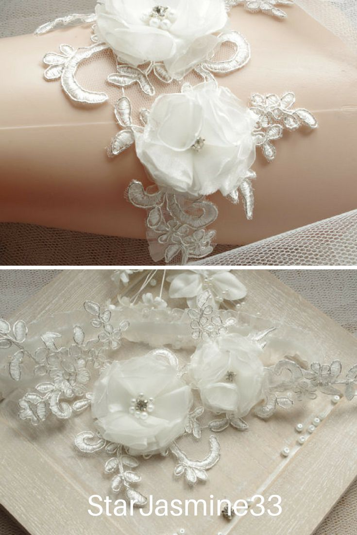 """Lace Wedding Garter Bridal white garter Lace Garter Bridal garter White garter Flower garter Lace garters White Lace Keepsake Garter♥️ Please leave your wedding date when you check out ♥️Beautiful and lovely garter made of pearl beaded lace with 1"""" stretch lace. Soft and warm looking garter in ivory color. Wide lace is 7"""" x 3""""#wedding#garter#bridal #Clothing#Lingerie #Garters"""