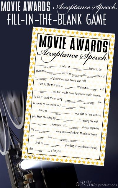 bnute productions: Free Printable Oscar Party Game: Acceptance Speech Fill-in-the-Blank