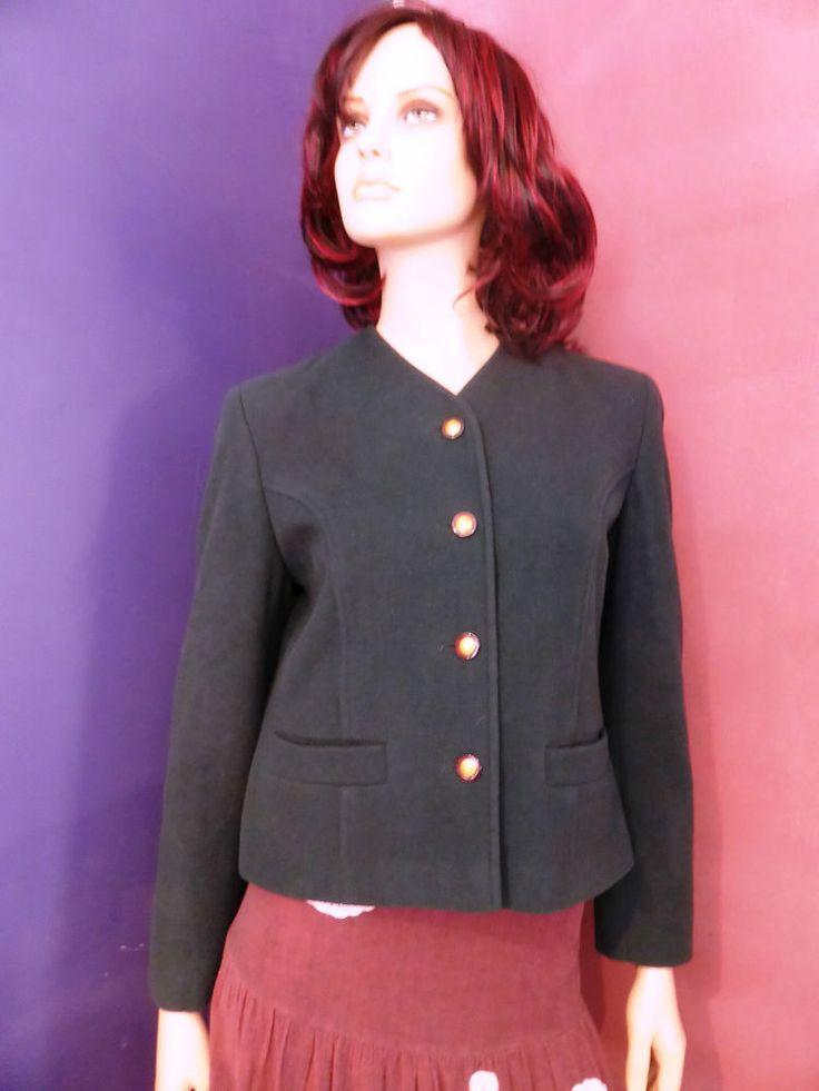 James Pringle Weavers UK Deep Green Wool and Cashmere Jacket Size 12