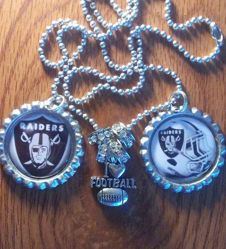 Oakland Raiders bottle cap necklace by LegacySportsJewelry on Etsy
