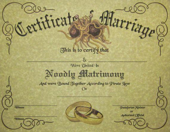 FSM-Zertifikat der Ehe, Flying Spaghetti Monster Hochzeit Pastafarian