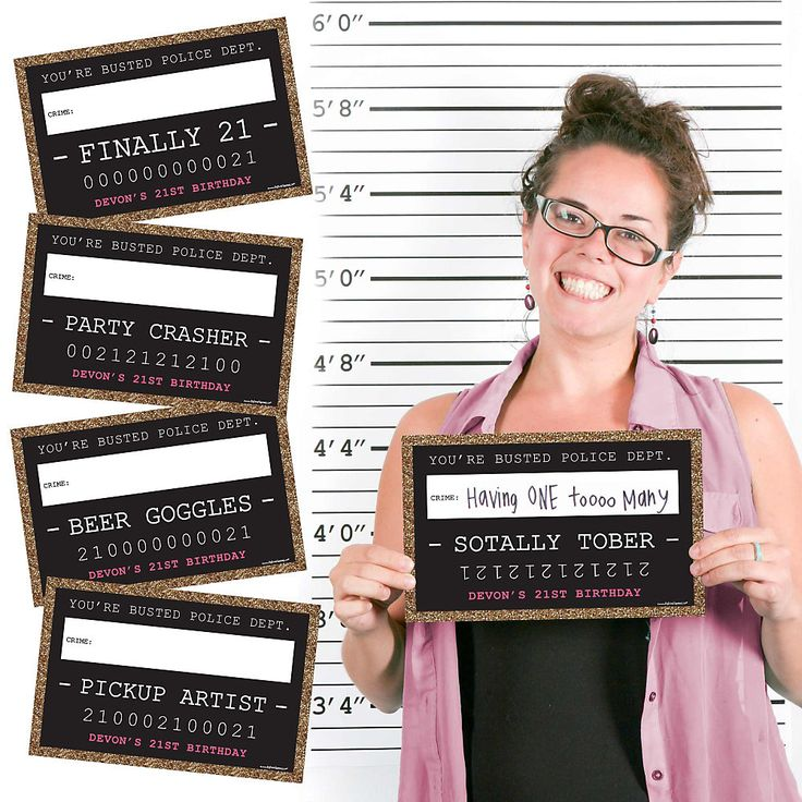 Finally 21 Girl - 21st Birthday - Party Mug Shots - 20 Piece Birthday Party Photo Booth Props Kit. If you are brave enough post these and see what your friends have to say! It is a great way to have fun for everyone. The back drop is sold separately. | BigDotOfHappiness.com