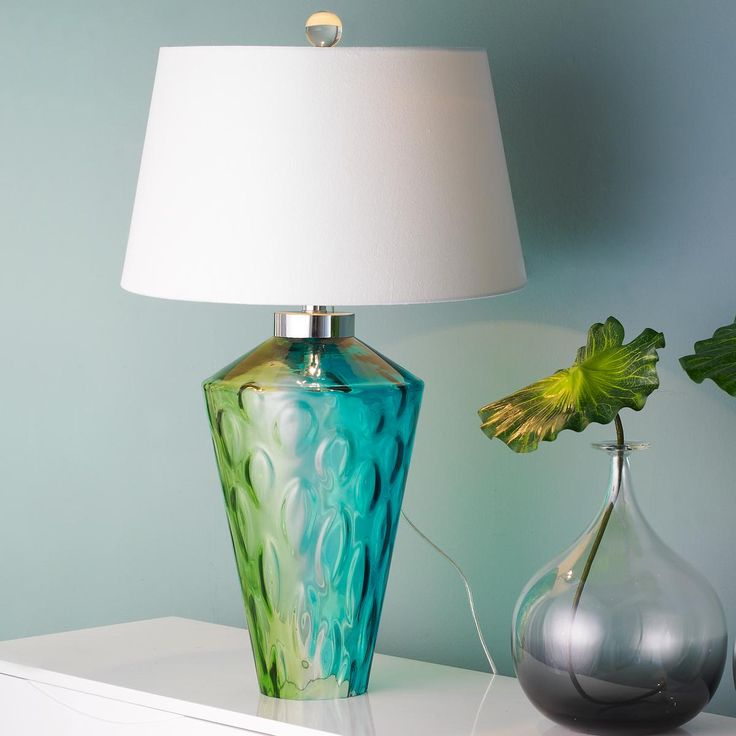 Lime Table Lamp: Seaside Water Glass Table Lamp Aqua blue and lime green glass vase has a  rippling water,Lighting
