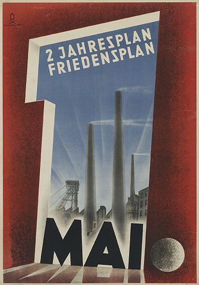 """1. Mai (1949) """"2 Jahresplan Friedensplan"""" Entwurf Klasse für Gebrauchsgrafik (Leiter Walter Funkat) der Burg Giebichenstein, Halle a. d. Saale, Deutschland (SBZ) 1949."""