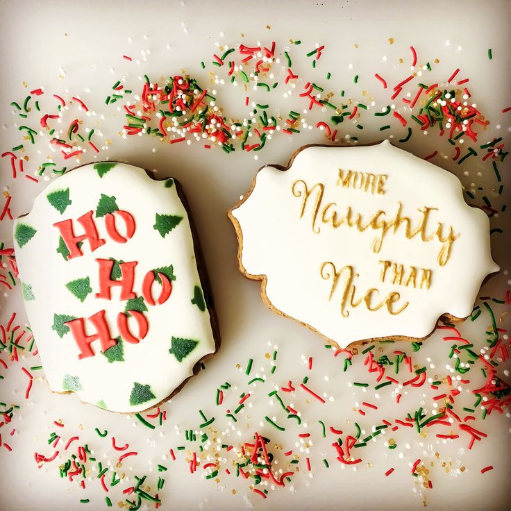 Ho Ho Ho, Multi Mini Christmas Trees and More Naughty Than Nice Cookie & Cake stencils.  www.sayitwithsweetness.com.au