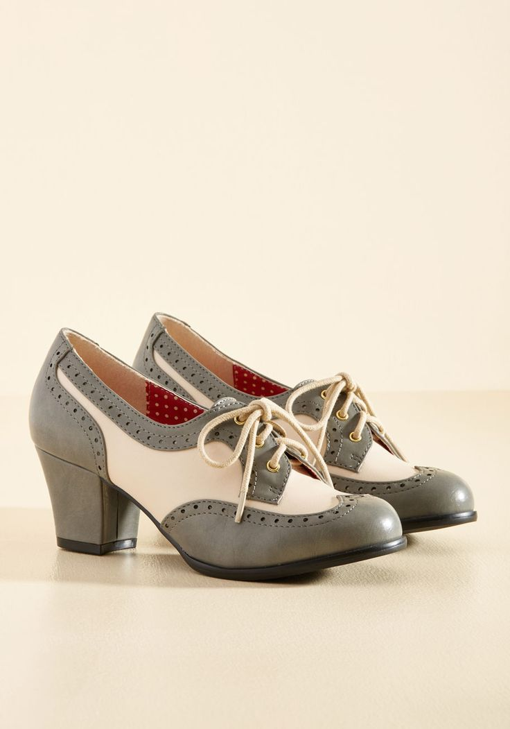 Oxford Comment Heel in Stone. Classic, charming, and endlessly cool - these brogues by B.A.I.T. #grey #modcloth