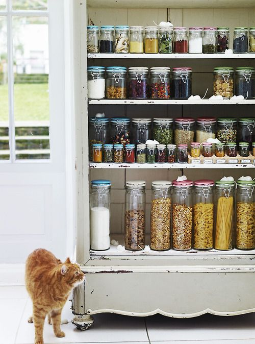 .yesssss! uniformity and clear storage containers!...let the colors in the food brighten up your pantry.