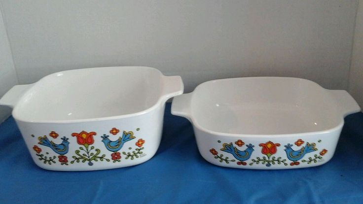 Vtg 1975 corning ware 2 baking dishes Friendship Amish Festival Blue Bird