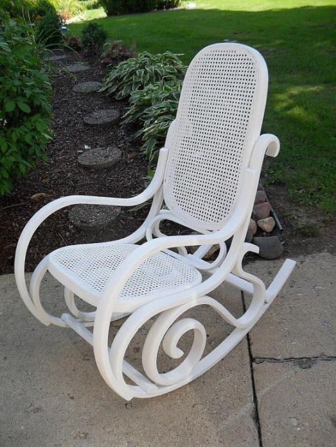 Bentwood Rocker- maybe I should paint the entire thing white BEFORE adding cushions...