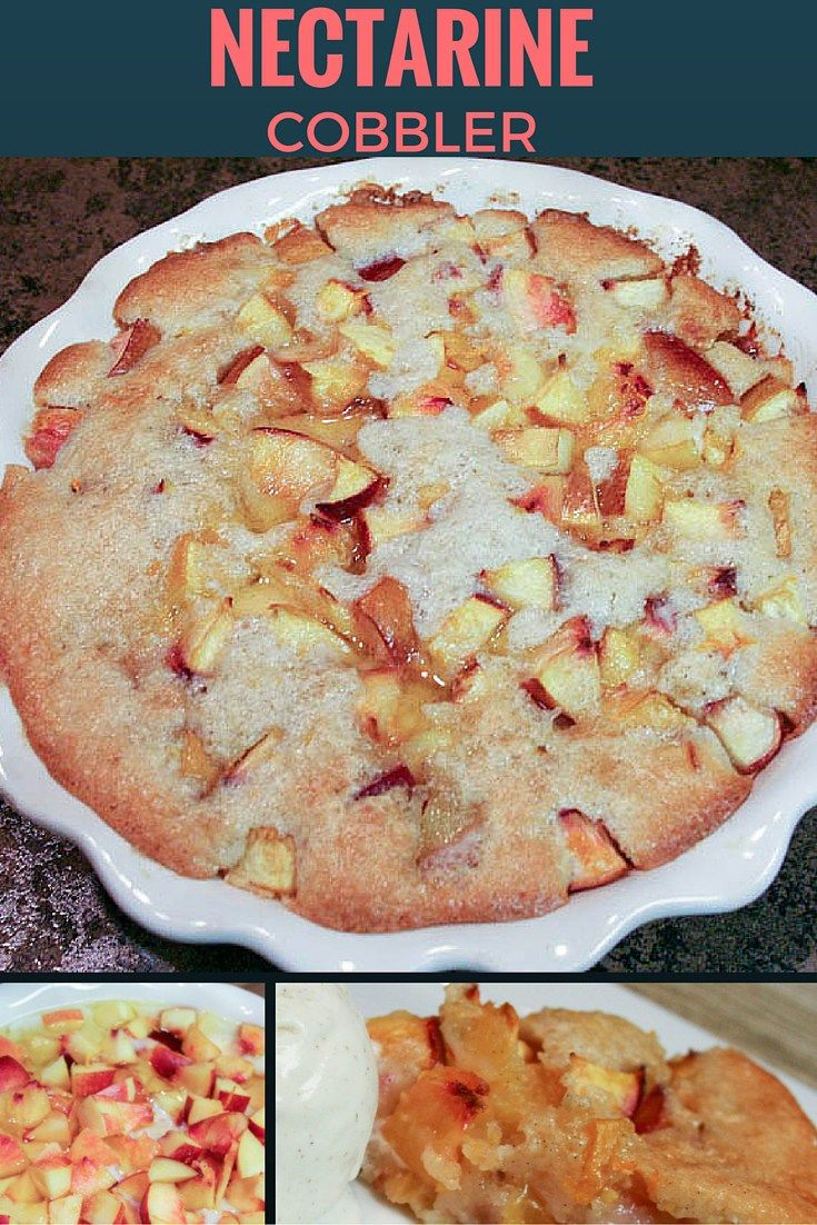 This light and tangy nectarine cobbler recipe is the perfect summertime dessert! Or if you live in an area of the country where the winter months are long (like us), it will bring at least a feeling of summer to your dreary day. www.DelectableCookingandBaking.com | #nectarinecobbler #cobbler #nectarine #dessert #nectarinedessert